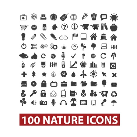 100 nature icons set, vector Vector