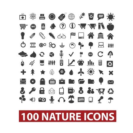 residuos organicos: 100 nature icons set, vector