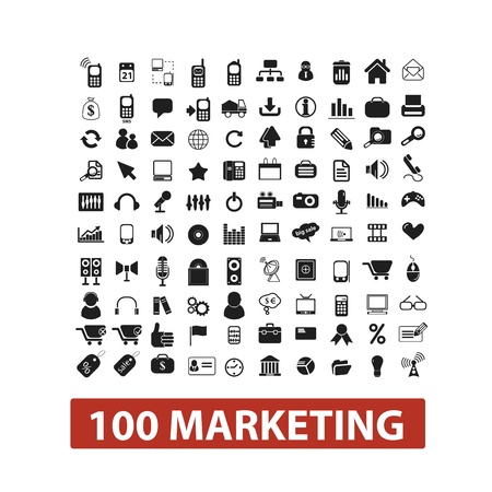 100 marketing icons set, vector