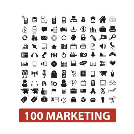 100 marketing icons set, vector Imagens - 19089644