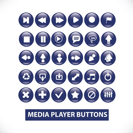 audio video: media player blue glossy buttons set Illustration