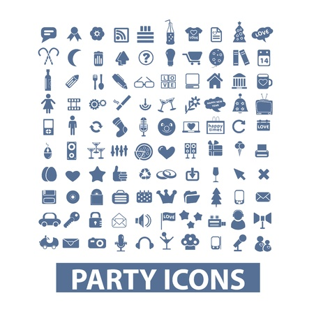 party hats: party, birthday, celebration icons set
