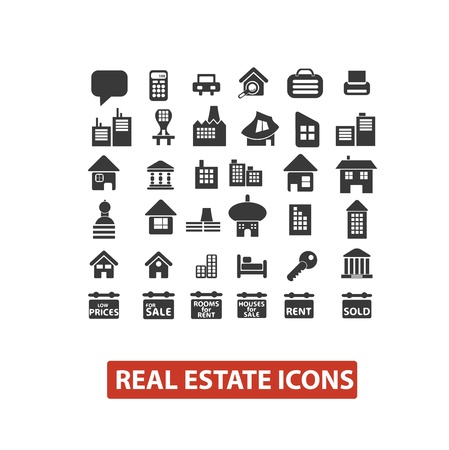 key signature: real estate icons set