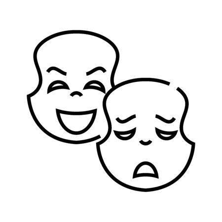 Acting lesson line icon. Acting lesson concept outline vector, symbol, sign, linear illustration.