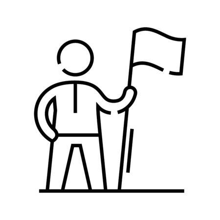 Achiever line icon. Achiever concept outline vector illustration, sign, linear symbol. 일러스트