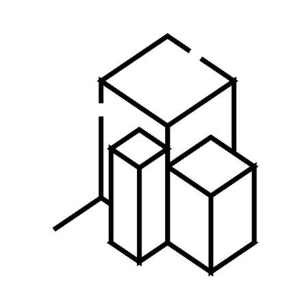3d chart line icon. 3d chart concept outline vector illustration, sign, linear symbol.
