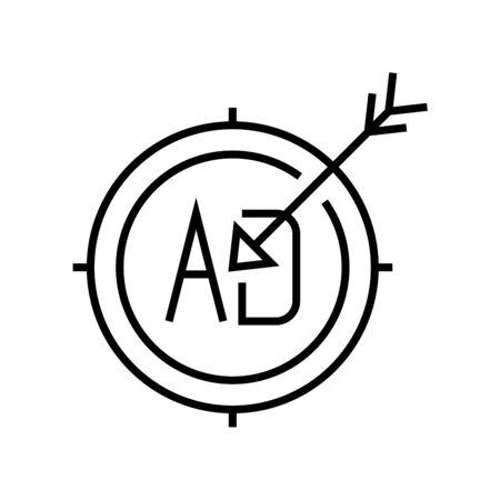 Aim ad line icon, concept sign, outline vector illustration, linear symbol. Vettoriali