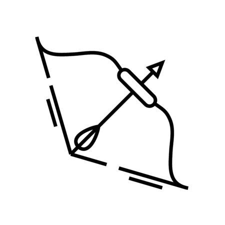 Archery line icon, concept illustration, outline symbol, vector sign, linear symbol. Ilustração
