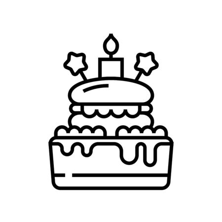 Birthday cake line icon, concept sign, outline vector illustration, linear symbol. Ilustrace