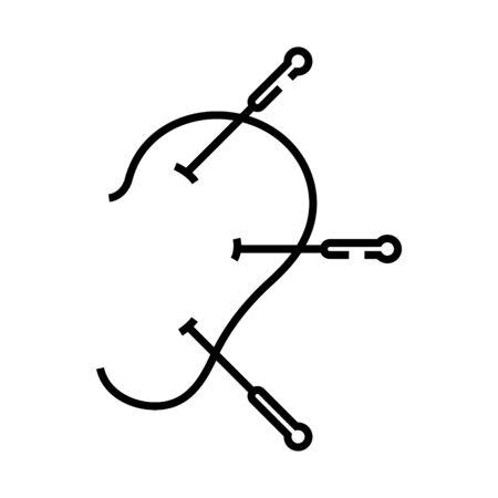 Acupuncture line icon, concept sign, outline vector illustration, linear symbol. Vecteurs