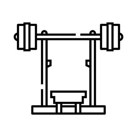 Barbell fitness machine line icon, concept illustration, outline symbol, vector sign, linear symbol. Illustration