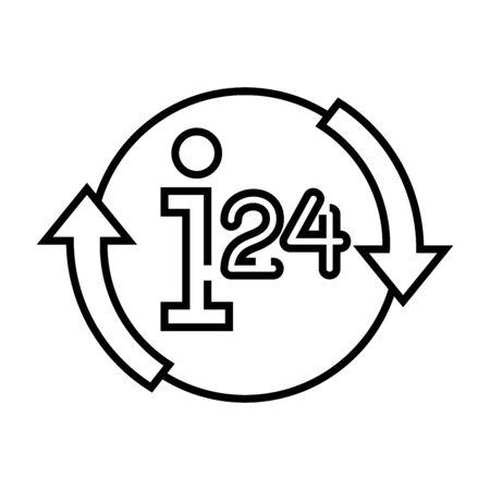 24 hour services line icon, concept illustration, outline symbol, vector sign, linear symbol.