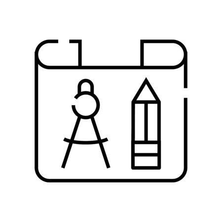 Blueprint line icon, concept sign, outline vector illustration, linear symbol. Ilustracja