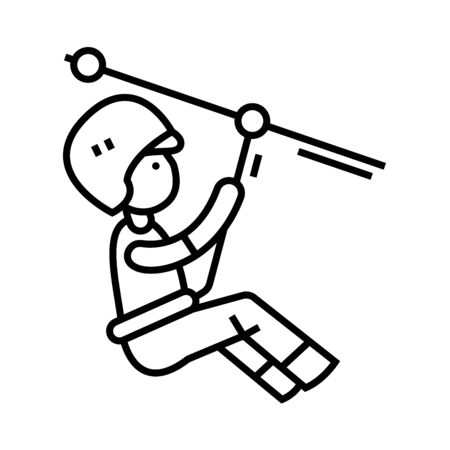 Alpinist line icon, concept illustration, outline symbol, vector sign, linear symbol. 일러스트