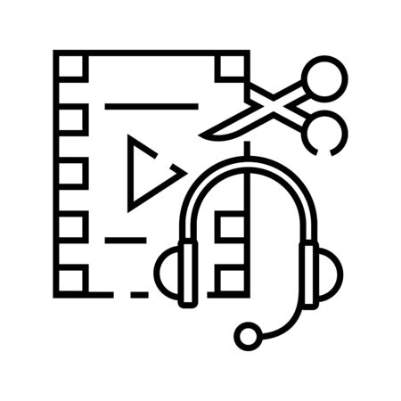 Audio and video editing line icon, concept illustration, outline symbol, vector sign, linear symbol.