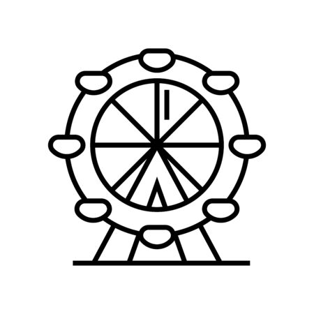 Big wheel line icon, concept illustration, outline symbol, vector sign, linear symbol.