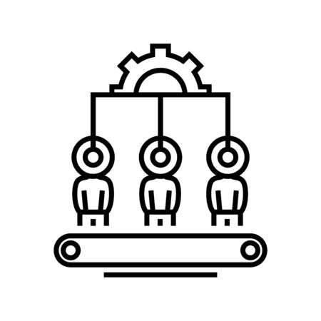 Automatic process line icon, concept illustration, outline symbol, vector sign, linear symbol.