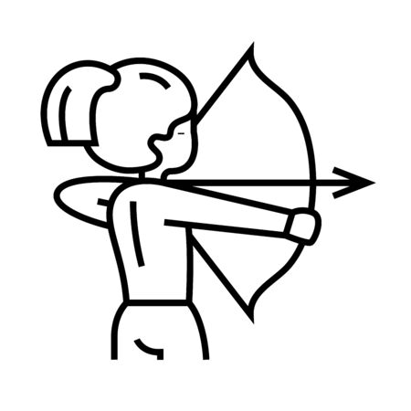 Archer line icon, concept illustration, outline symbol, vector sign, linear symbol.