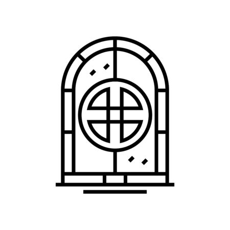 Ancient portal line icon, concept illustration, outline symbol, vector sign, linear symbol. 矢量图像