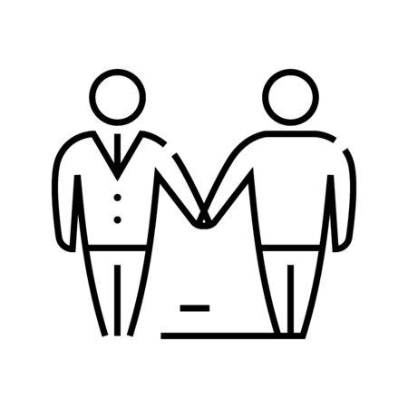 Agreement line icon, concept illustration, outline symbol, vector sign, linear symbol.