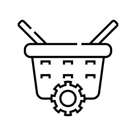 Basket changing line icon, concept illustration, outline symbol, vector sign, linear symbol.