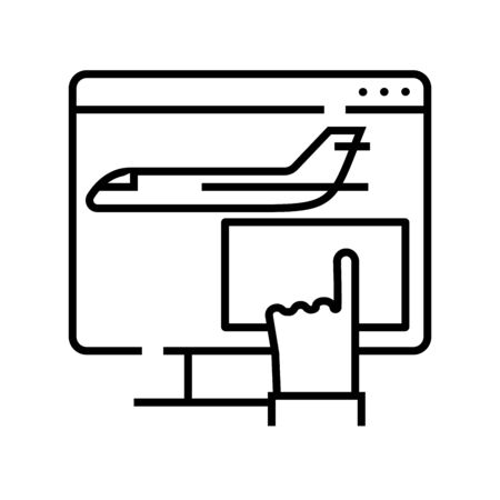 Booking plane tickets line icon, concept sign, outline vector illustration, linear symbol. 일러스트