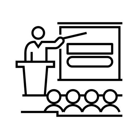 Agenda line icon, concept illustration, outline symbol, vector sign, linear symbol. Illusztráció