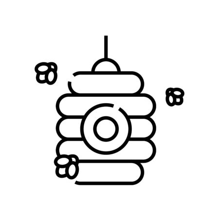 Bee house line icon, concept illustration, outline symbol, vector sign, linear symbol. Ilustrace