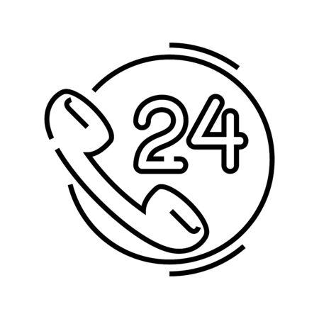 24 hour online help line icon, concept sign, outline vector illustration, linear symbol.
