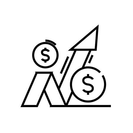 Incresing profits line icon, concept sign, outline vector illustration, linear symbol.