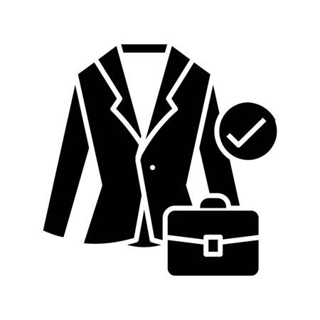 Business suit black icon, concept illustration, glyph symbol, vector flat sign.