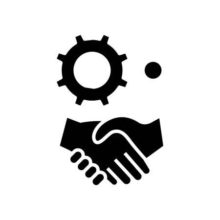 Business agreements black icon, concept illustration, vector flat symbol, glyph sign. 일러스트