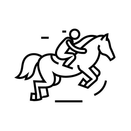 Horse riding line icon, concept illustration, outline symbol, vector sign, linear symbol.