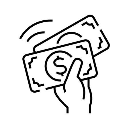 Income line icon, concept illustration, outline symbol, vector sign, linear symbol.