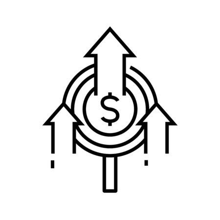 Income growth line icon, concept illustration, outline symbol, vector sign, linear symbol. 向量圖像