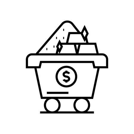 Industry profit line icon, concept illustration, outline symbol, vector sign, linear symbol. 向量圖像