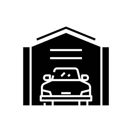 Car garage black icon, concept illustration, vector flat symbol, glyph sign.