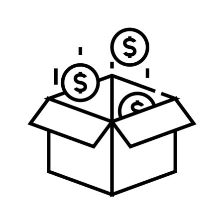Incomes line icon, concept sign, outline vector illustration, linear symbol.