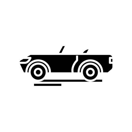 Cabriolet black icon, concept illustration, glyph symbol, vector flat sign.