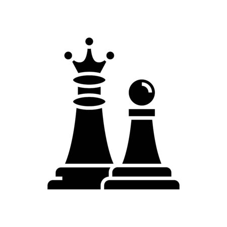 Chess moving black icon, concept illustration, glyph symbol, vector flat sign.
