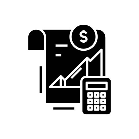 Calculating income black icon, concept illustration, vector flat symbol, glyph sign. 向量圖像