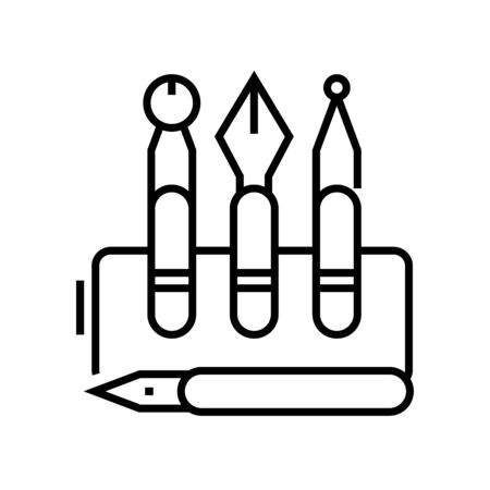 Inking pens line icon, concept sign, outline vector illustration, linear symbol. Stock Illustratie