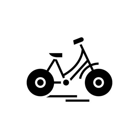 Bycicle black icon, concept illustration, vector flat symbol, glyph sign.