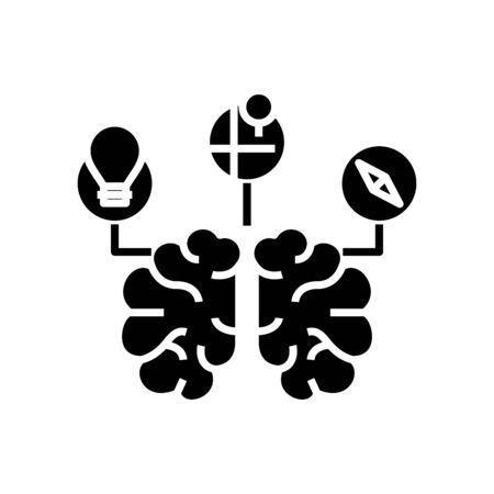 Brain storm black icon, concept illustration, glyph symbol, vector flat sign. Vettoriali