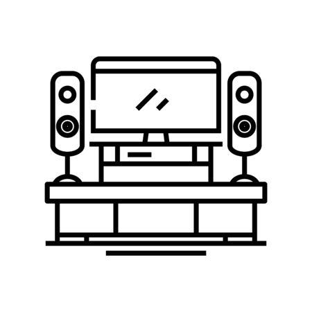 Home cinema line icon, concept sign, outline vector illustration, linear symbol.