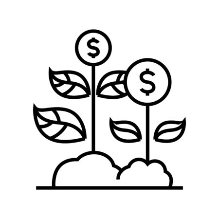 Growing business line icon, concept sign, outline vector illustration, linear symbol.