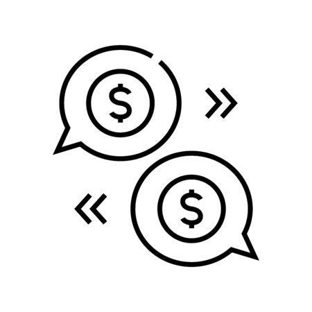 Income planning line icon, concept sign, outline vector illustration, linear symbol. 向量圖像