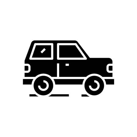 Car black icon, concept illustration, glyph symbol, vector flat sign.