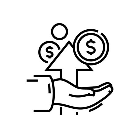 Income growth line icon, concept sign, outline vector illustration, linear symbol.