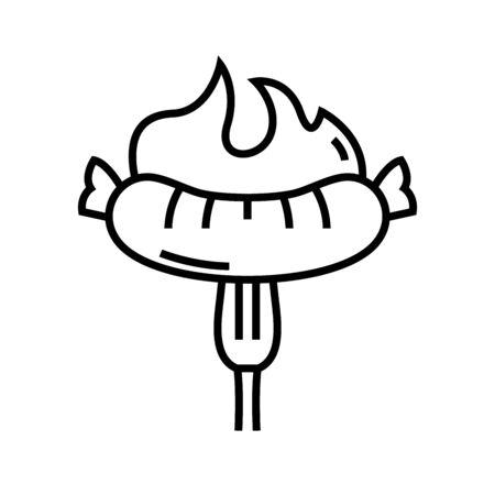 Hot sasauges line icon, concept sign, outline vector illustration, linear symbol.